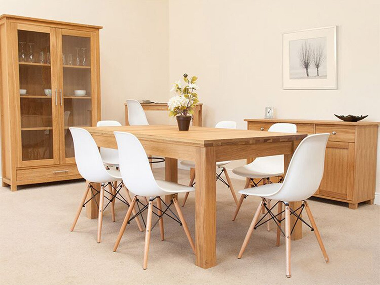 Eames eiffel chair dining room - Amazon Com Greenforest Eames Chair Natural Wood Legs Cushion Seat And Back For Dining Room Chairs Set Of 4 White Chairs