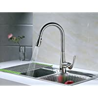 RunFine RF412001 Deck Plate Brushed Nickel Single Handle Pull Down Automatic Kitchen Sink Faucet with Innovative Dual-Mode Sensor System and Spot Resist Stainless