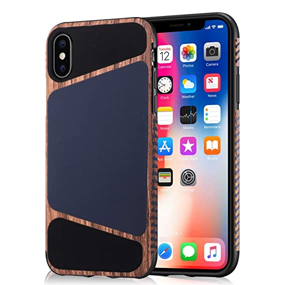promo code 83047 91c3f Mthinkor iPhone Xs Case, iPhone X Case Wood Grain Stitching Liquid Silicone  Leather Case Compatible with iPhone X/iPhone Xs (Blue)
