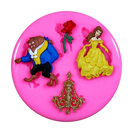 La bella y la Bestia Molde de silicona para la torta de Decoración Pastel de Cupcake