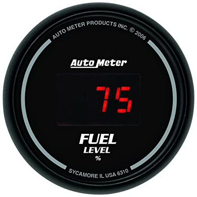 "Auto Meter 6310 Sport Comp Digital Black 2-1/16"" Programmable Gauge with presets Fuel Level: Automotive"