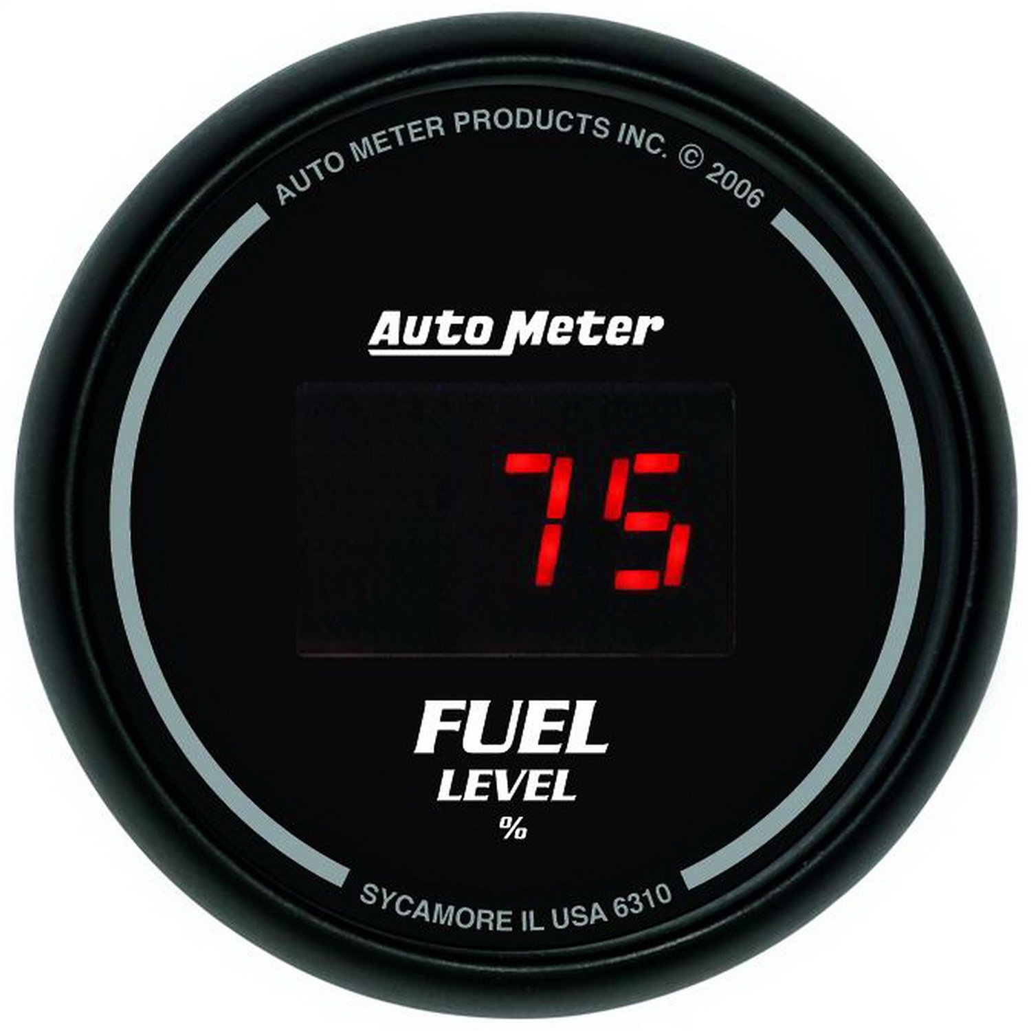 Auto Meter 6310 Sport Comp Digital Black 2-1/16'' Programmable Gauge with presets Fuel Level