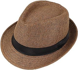 JOYKK Children Straw Hat Summer Beach Jazz Panama Trilby Fedora Hat Gangster Cap Outdoor Breathable Hats Girls Boys Sunhat - A# Black