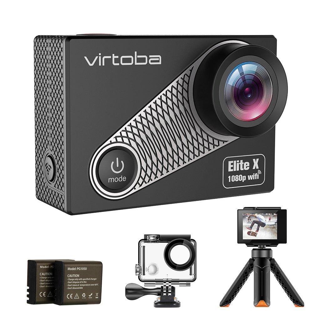 Virtoba Action Kamera WIFI Action Cam 4K/1080P Auflösung 16MP Ultral HD 2,0 LCD Bildschirm Unterwasserkamera 170° Weitwinkeln Sport Cam wasserdicht...