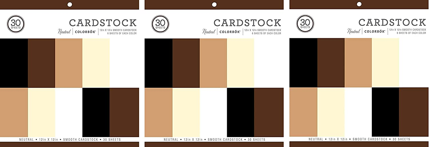 Colorbok 61198B Neutral Cardstock Paper Pad Smooth Cardstock Paper Pad, 12