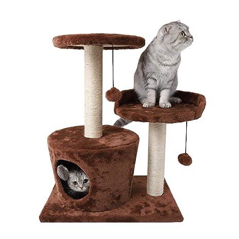 Nobleza - Árbol rascador para Gatos de Dos Plataformas con Cueva y Juguetes Colgantes. Color marrón, 60 cms.