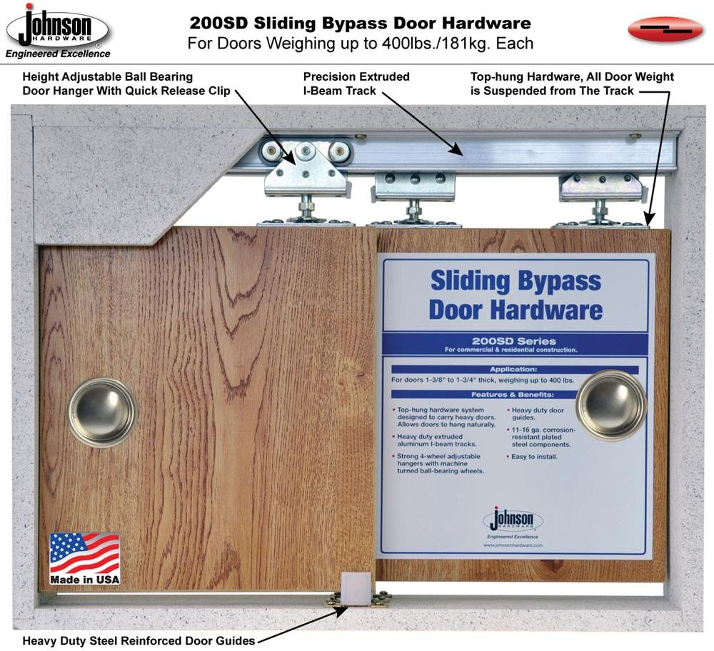 Johnson Hardware 200SD 2-Door Bypass Hardware Set, 72 in. Tracks (Doors Weighing Up to 300 lbs. each) by Johnson Hardware (Image #3)