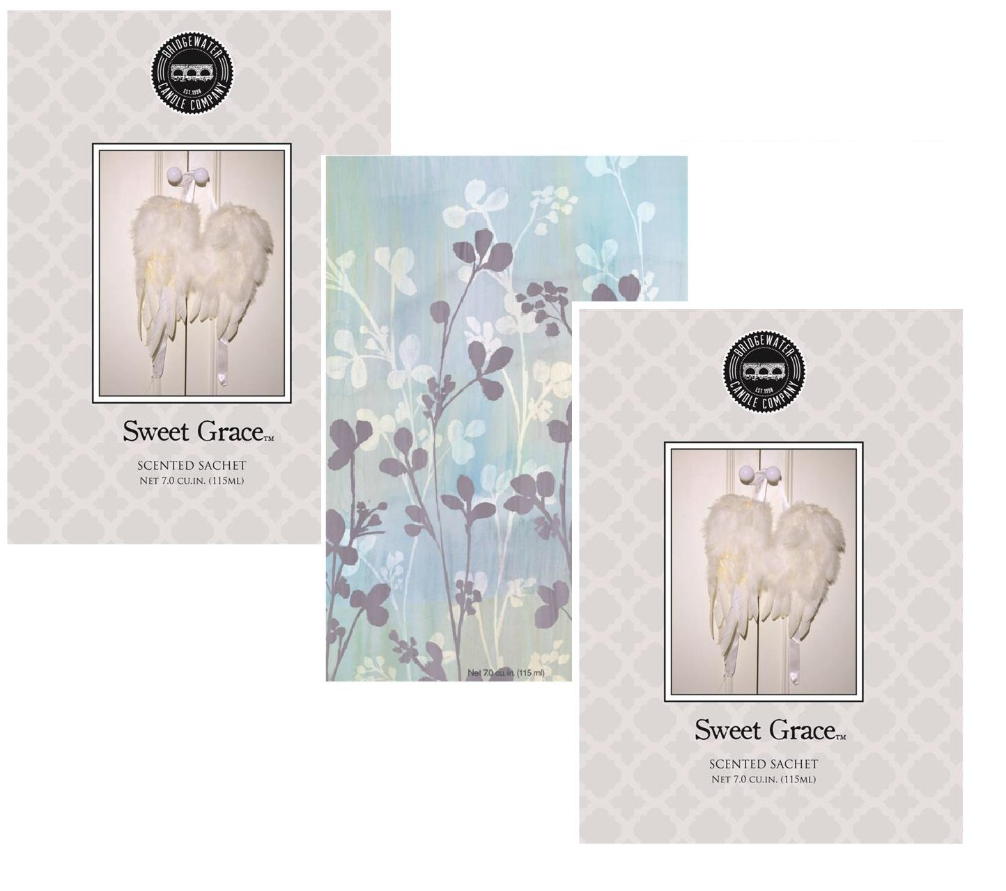 Pack of 3, 2 Sweet Grace 1 Peace Large Scented Fragrance Sachets, Mindfulness Selection Bridgewater Fresh Scents