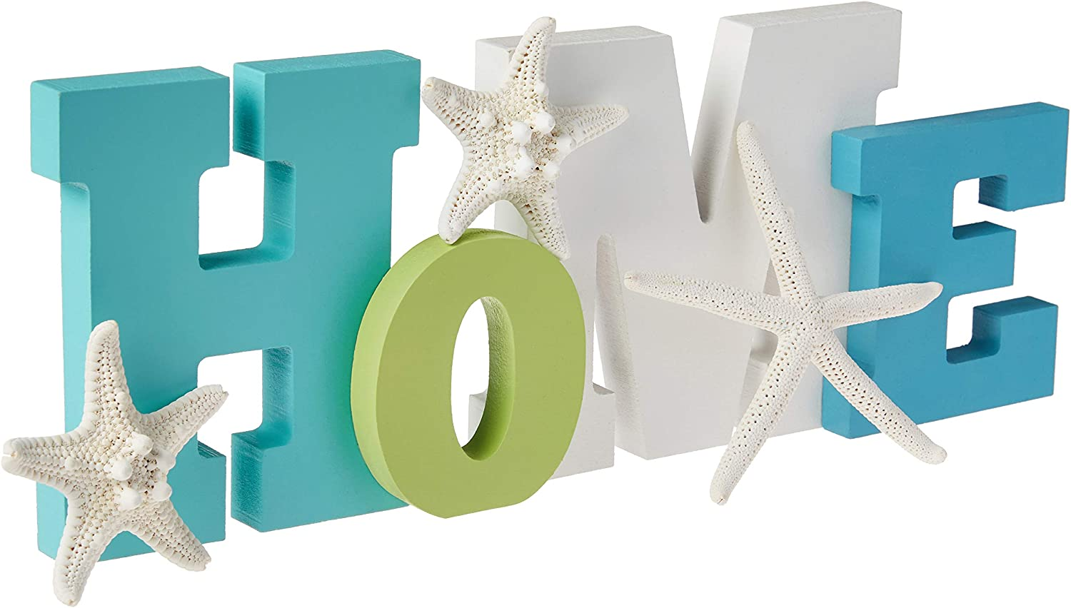 Wooden Home Word Sign with a Trio of Loose Starfish | Layered Coastal Colored | Home Beach Décor |