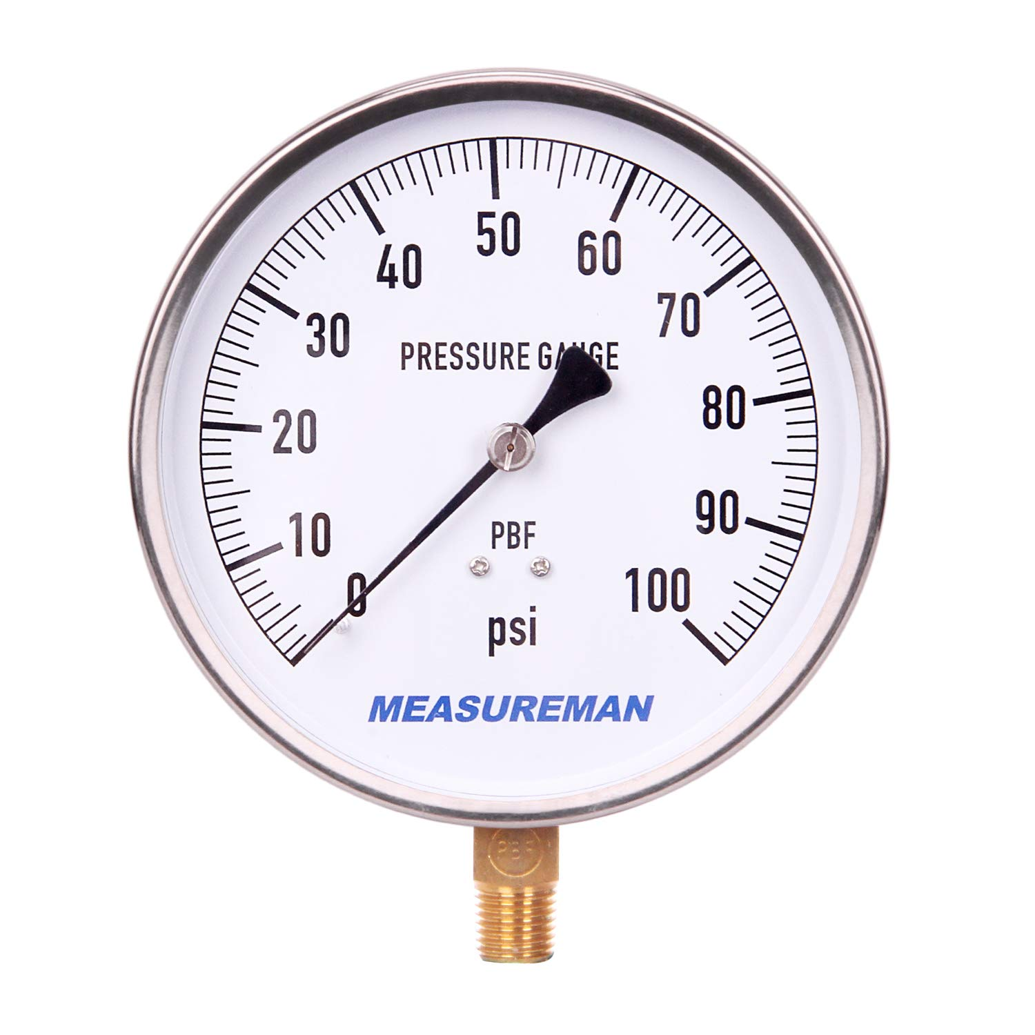 """MEASUREMAN 304 Stainless Steel Case, Lead Free Contractor Pressure Gauge, 0-100Psi, 4-1/2"""" Dial Size, 1% Accuracy, 1/4"""" NPT Lower Mount"""