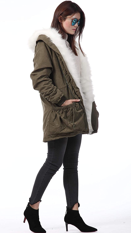 Roiii Neu Damen Winter Warm Casual Parka Kunstpelz Schwarze Jacke Kapuzenmantel Größe 36-50 Grün Weiß