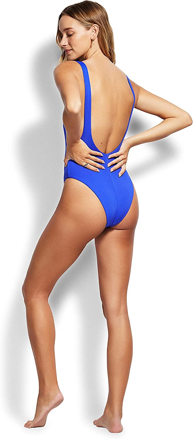Seafolly Womens Retro Tank One Piece Swimsuit One Piece Swimsuit Active Cobalt