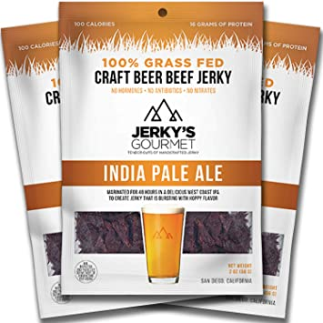 IPA Craft Beer Grass Fed Beef Jerky - 100 Calorie Snacks, Gourmet Healthy Low  Carb