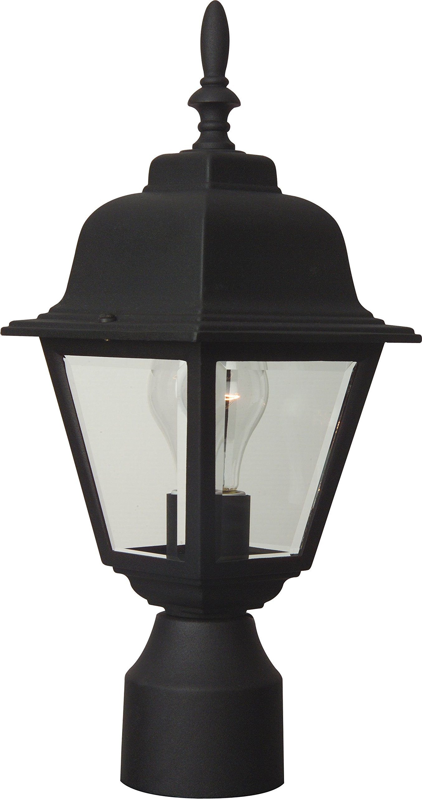 Craftmade Z175-05 Post Mount Light with Beveled Glass Shades, Black Finish