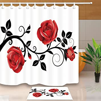Amazon.com: NYMB Flower Shower Curtain, Concise Style Red Rose Black ...