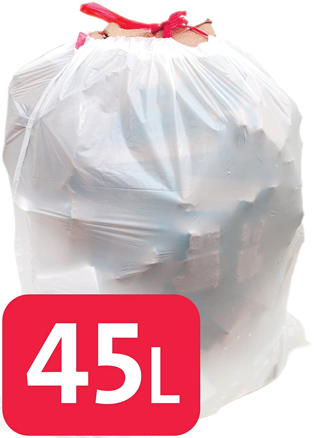 75 x Alina 45L Polythene Drawstring Bin Liner / Bin Bag / Medium-weight 45 Litre White Plastic Draw Tape Garbage Sack (75 bags)