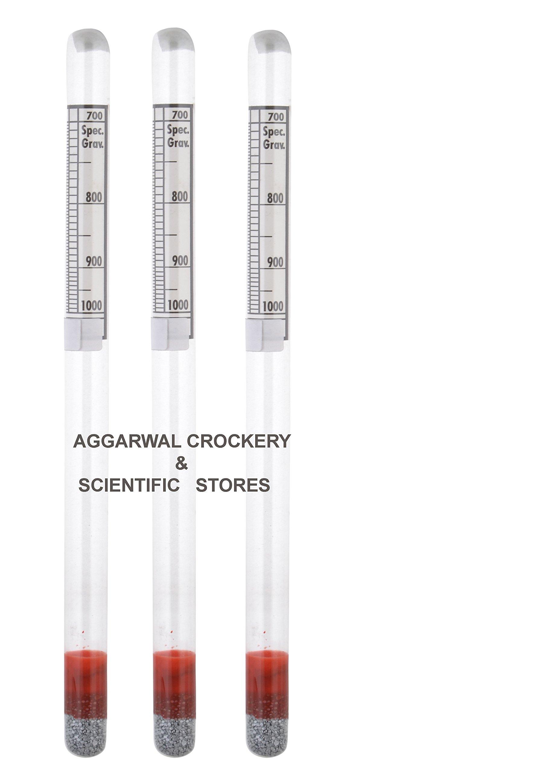 Aggarwal Crockery & Scientific Stores Hydrometer 700-1000 (Light liquid) Pack of 3