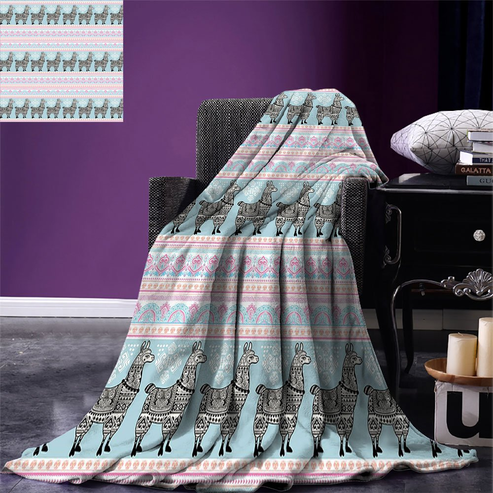 smallbeefly Llama Lightweight Blanket Horizontal Borders with Patterned Alpaca Animal and Ethnic Folkloric Tribal Ornaments Digital Printing Blanket Multicolor