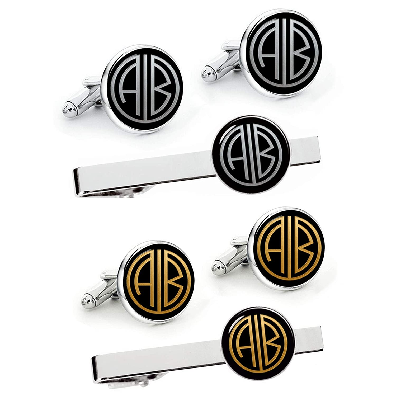Kooer Handmade Custom Gatsby Style Monogram Initials Cuff Links Tie Clip Set Customize Personalized Monogram Wedding Cufflinks Gift for Men Father Dad Husband Boy Friend Groom Groomsman