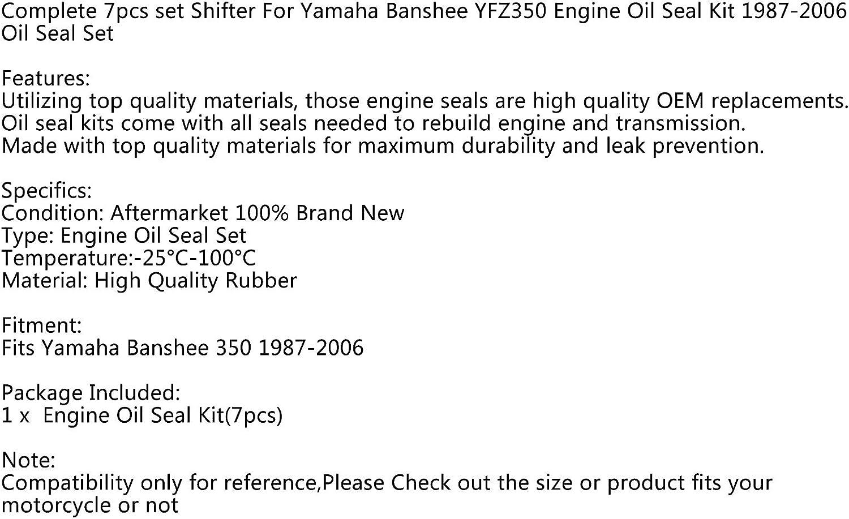 Bruce /& Shark Engine Crank Oil Seal Kit for Yamaha BANSHEE 350 1987-2006 Complete 7PC Set Shifter