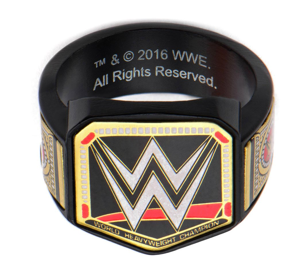WWE Championship Belt Mens Stainless Steel Black PVD Plated Logo Ring (size 12)