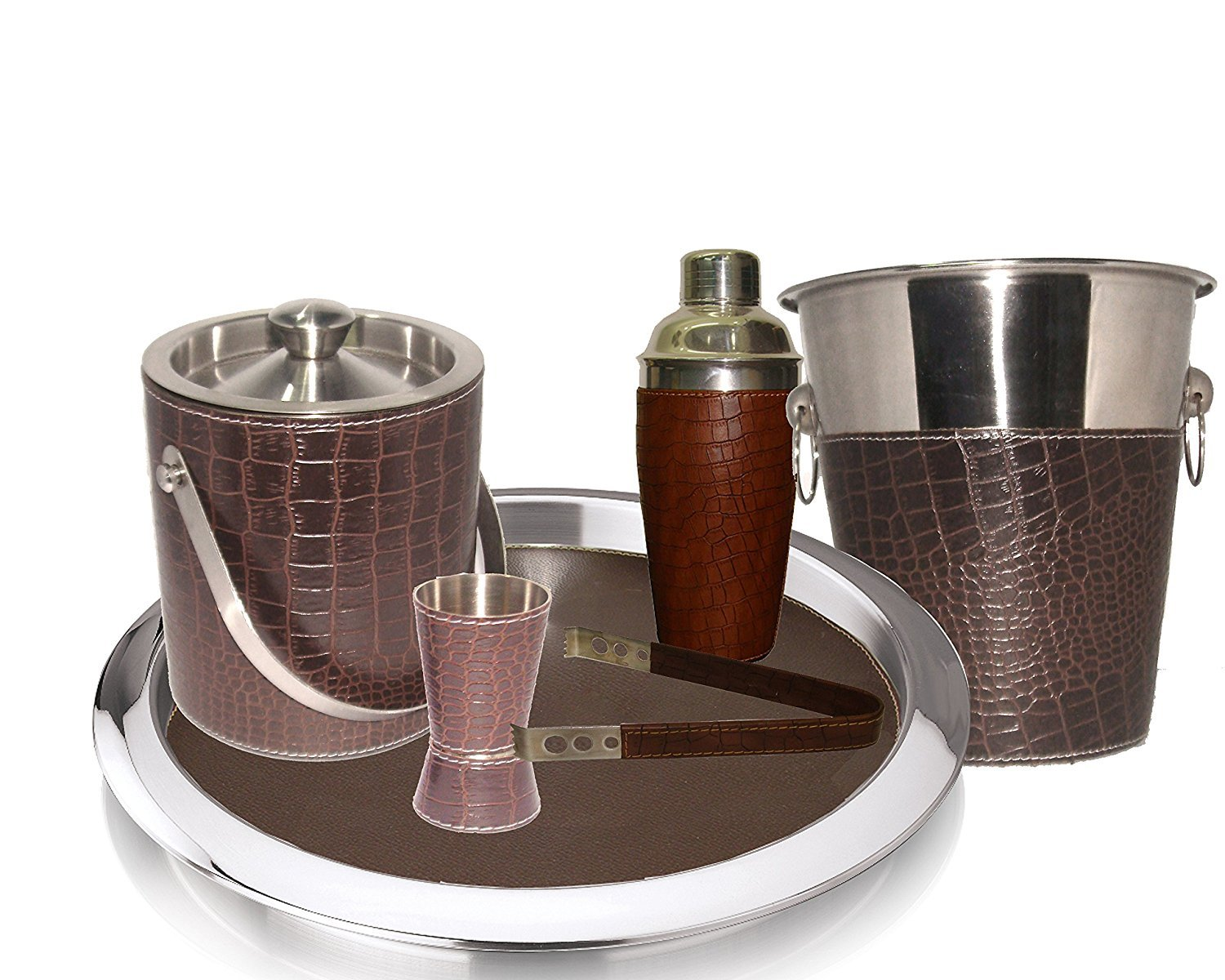 King International Stainless Steel Pure Leather Bar Set Set of 6 Pieces Ice Bucket,Tong,Cocktail Shaker,Jigger,Bar Tray,Wine Cooler