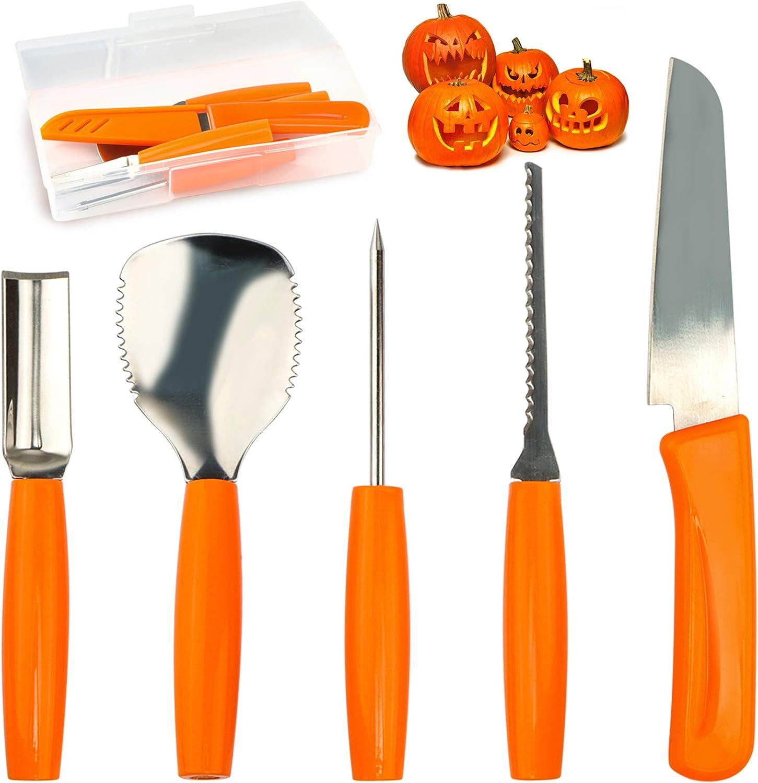 Pumpkin Carving Tools Set Halloween Pumpkin Carving kit Carving Knife Professional Stainless Steel Pumpkin Carving Tools Set with Food Carving Knife Baking Kitchen Knife ( 5PCS )