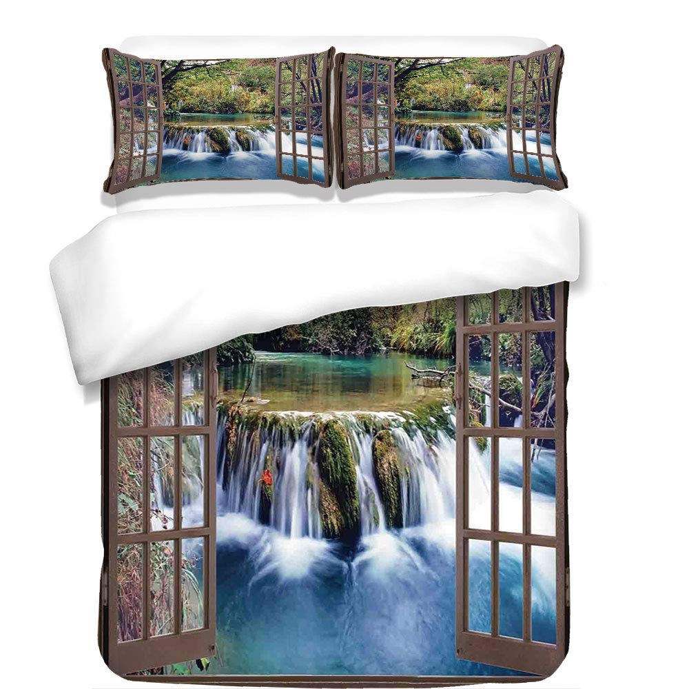 3Pcs Duvet Cover Set,House Decor,Wide Waterfall Deep Down in The Forest Seen from A City Window Epic Surreal Decorative Print,Multi,Best Bedding Gifts for Family/Friends