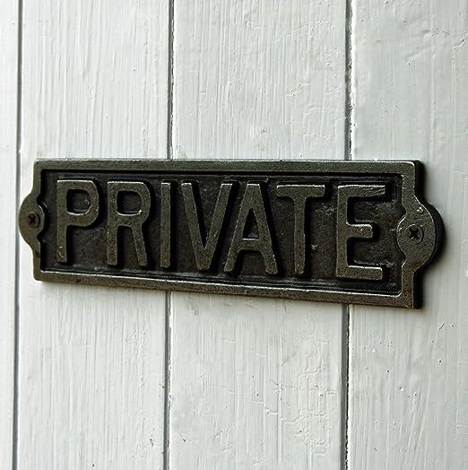 Privado de metal fundido placa puerta signo: Amazon.es: Hogar