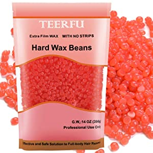 Hard Wax Beans for Painless Hair Removal, Brazilian Waxing for Face, Eyebrow, Back, Chest, Bikini Areas, Legs At Home 396g (14 Oz)