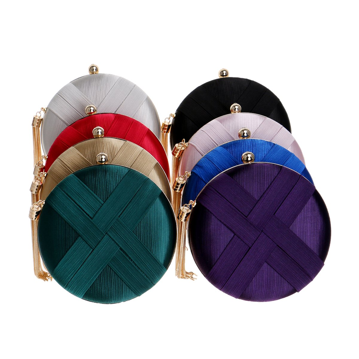 MY Womens Round Satin Evening Clutch Bags Tassel Pendant Silk Purse Evening Handbags for Formal Party Bridal Wedding Silver MY-001