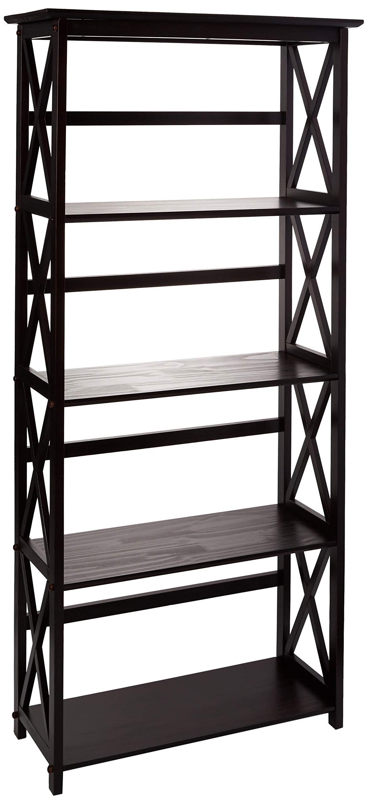 Casual Home Montego 5-Shelf Bookcase-Espresso