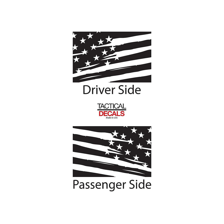 Distressed USA Flag Decals For 2020 Ford Ranger 4 door rear Windows Custom Design XR1-RF1.A