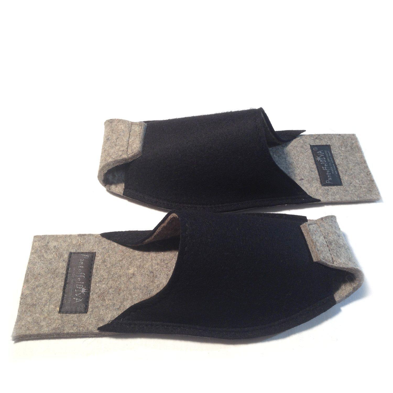 Uni schwarz - PantoffelDIVA, Damenpantoffel von PantoffelDIVA, - schwarz Merinofilz, Unisex Größe 38-42 - 470627