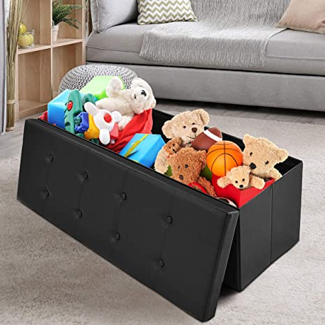 Magnificent Giantex 45 Folding Storage Ottoman Bench Tufted Faux Leather Coffee Table Foot Rest Stool Seat Padded Seat Storage Chest Black Pabps2019 Chair Design Images Pabps2019Com