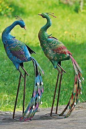 Great PAIR BLUE/GREEN PEACOCK GARDEN ORNAMENT