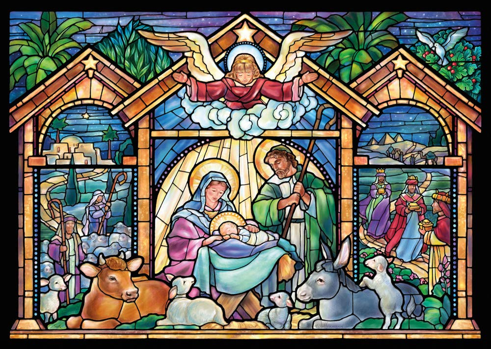 Christmas Religious.Stained Glass Nativity Religious Christmas Cards Box Of 15 Cards 16 Envelopes
