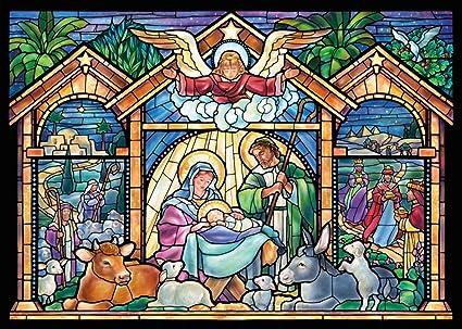 Tarjetas navideñas de vidrieras de religiosas de Navidad. Caja de ...