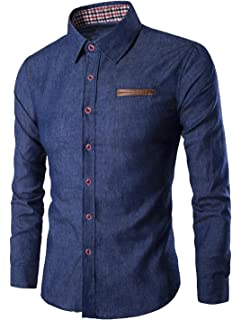 FSSE Mens Casual Business Long Sleeve Color Block Button up Slim Fit Dress Shirts