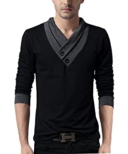 "STYLE SHELL ""Premium (Bio Wash) Men's V-Neck Full Sleeve Cotton T-Shirt (Black, Medium)"