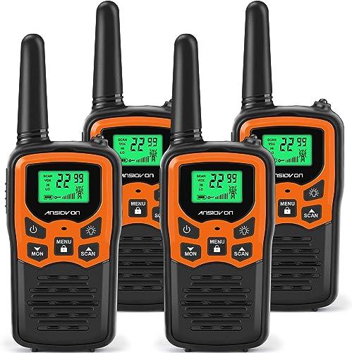 ANSIOVON Walkie Talkies for Kids Long Range 2-Way Radios Up to 5 Miles Range in Open Field 22 Channel FRS GMRS Kids Walkie Talkies UHF Handheld Walky Talky 4 Pack