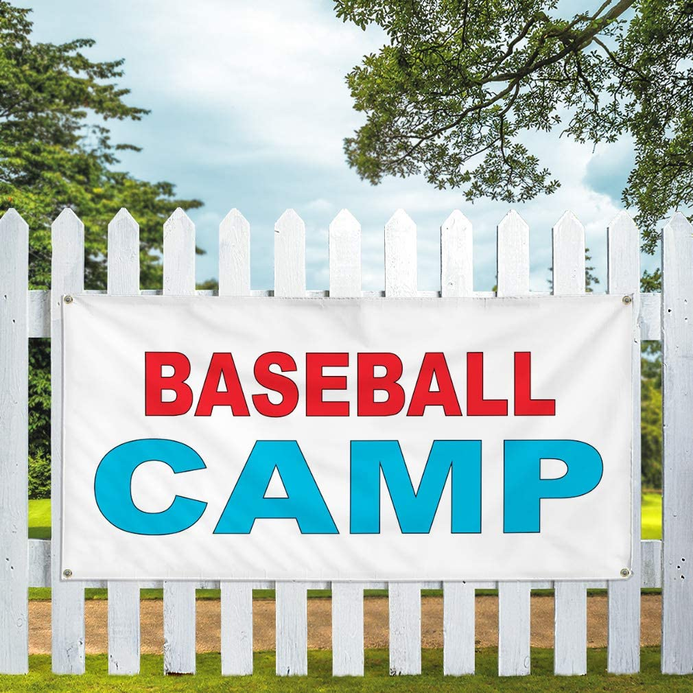 Vinyl Banner Multiple Sizes Baseball Camp Red Blue Business Outdoor Weatherproof Industrial Yard Signs 8 Grommets 48x96Inches