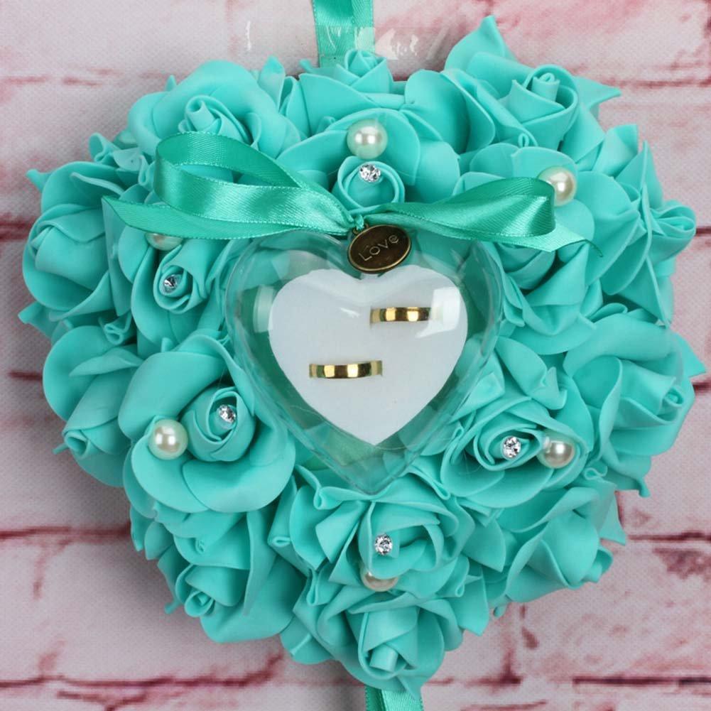 RENNICOCO Romántico Rosa Boda Anillo Cojín Corazón Anillo Almohada Joyero, Color 2, 25 x 25 x 14cm