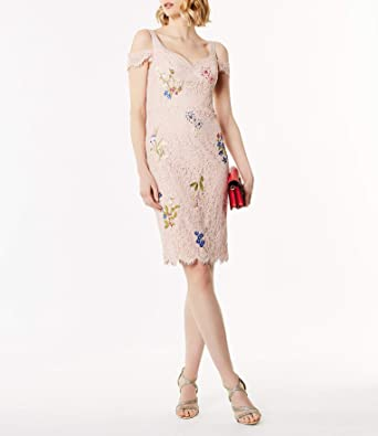 a702d327f6f6 DC228 FLORAL LACE EMBROIDERY D - 14, PINK/MUL: Amazon.co.uk: Clothing