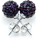 Busy Bead Pair of Shamballa Stud Earrings With Amethyst Crystal Rhinestone Clay Disco Ball 10mm