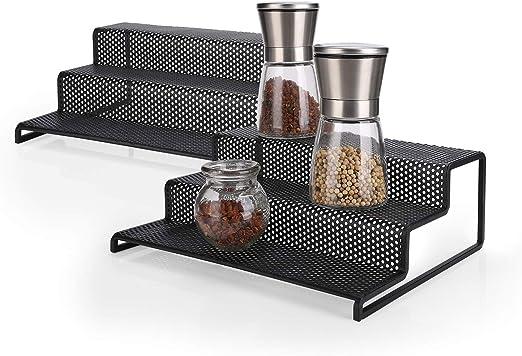 2pcs 3 Tier White Shelf Jar Rack Holder Cupboard Organiser Storage Kitchen Tool