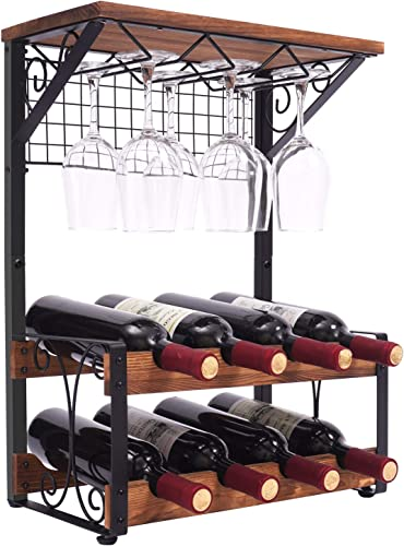 X-cosrack 2 Tier Solid Wood Wine Rack