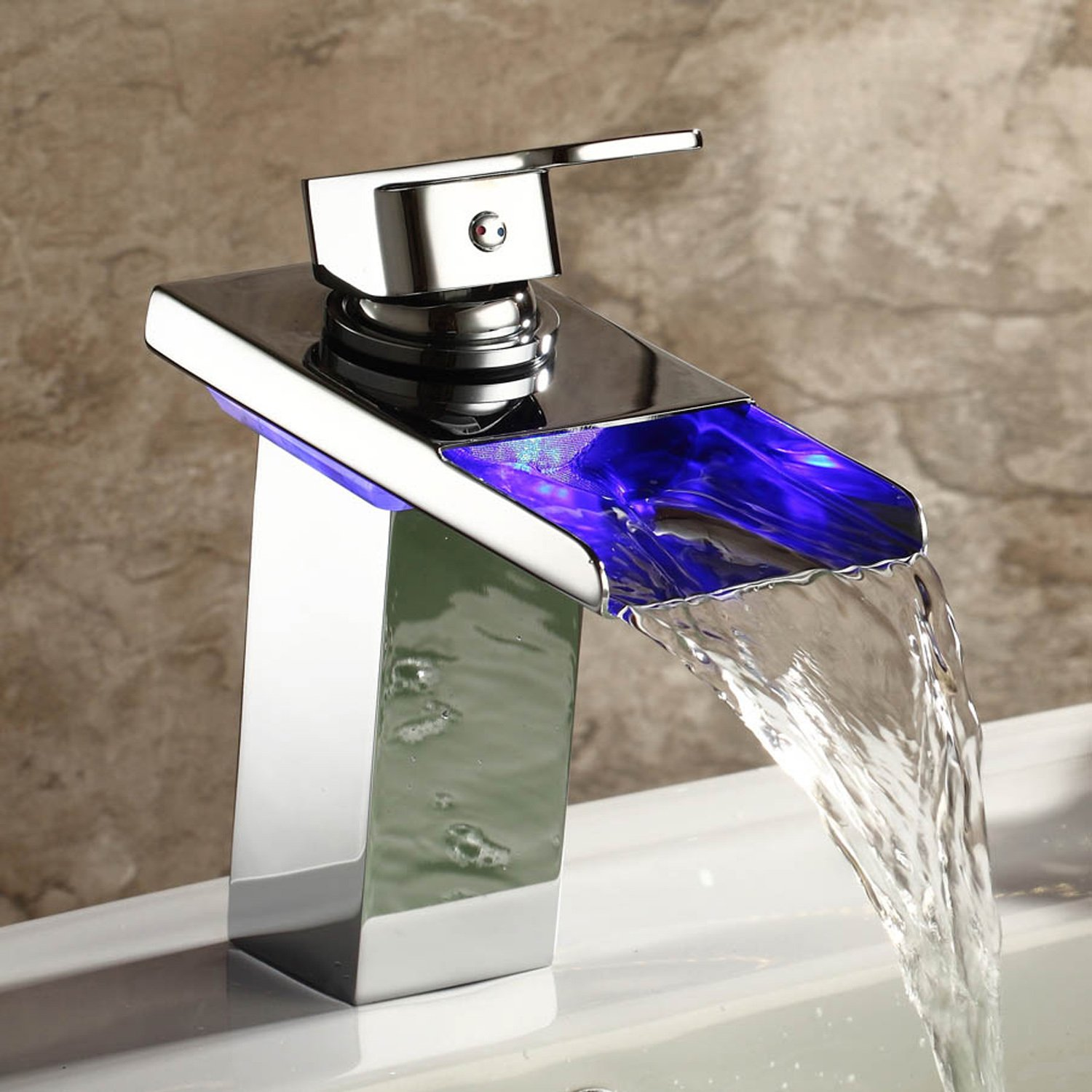 LightInTheBox-Single Handle Waterfall Bathroom Sink Faucet with LED Light