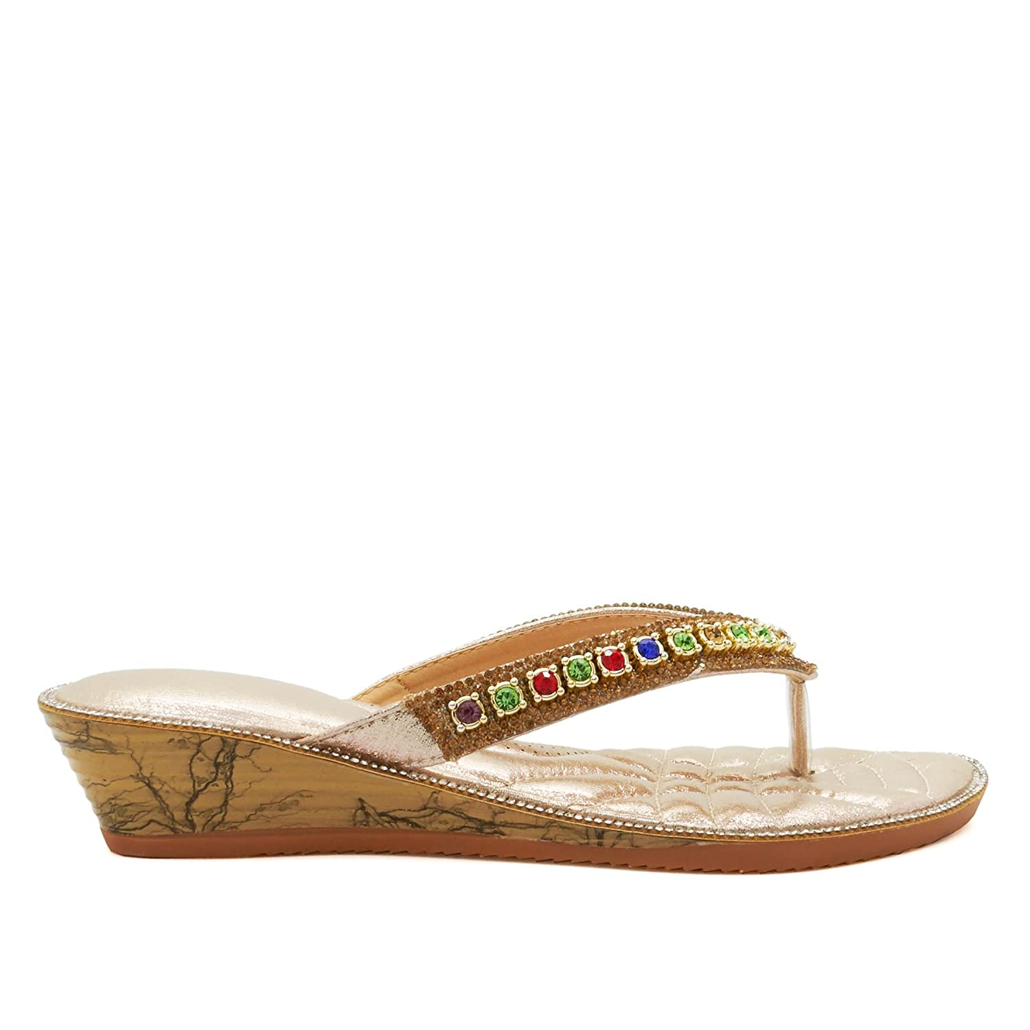 c9aeb504231e New Ladies Diamante Low Wedge Heel Sandals Womens Summer Holiday Toe Post  Size UK 3-9  Amazon.co.uk  Shoes   Bags