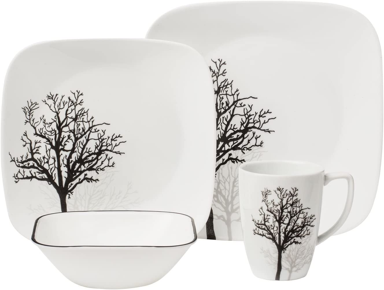 Amazon Com Corelle Square 16 Piece Dinnerware Set Timber Shadows Service For 4 Dinnerware Sets